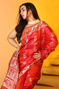 RUSTY RED BALUCHARI SAREE WITH BEIGE AND BLACK SILK THREAD FIGURE WEAVING