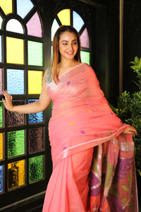 Peach Saree With Silver Zari Border