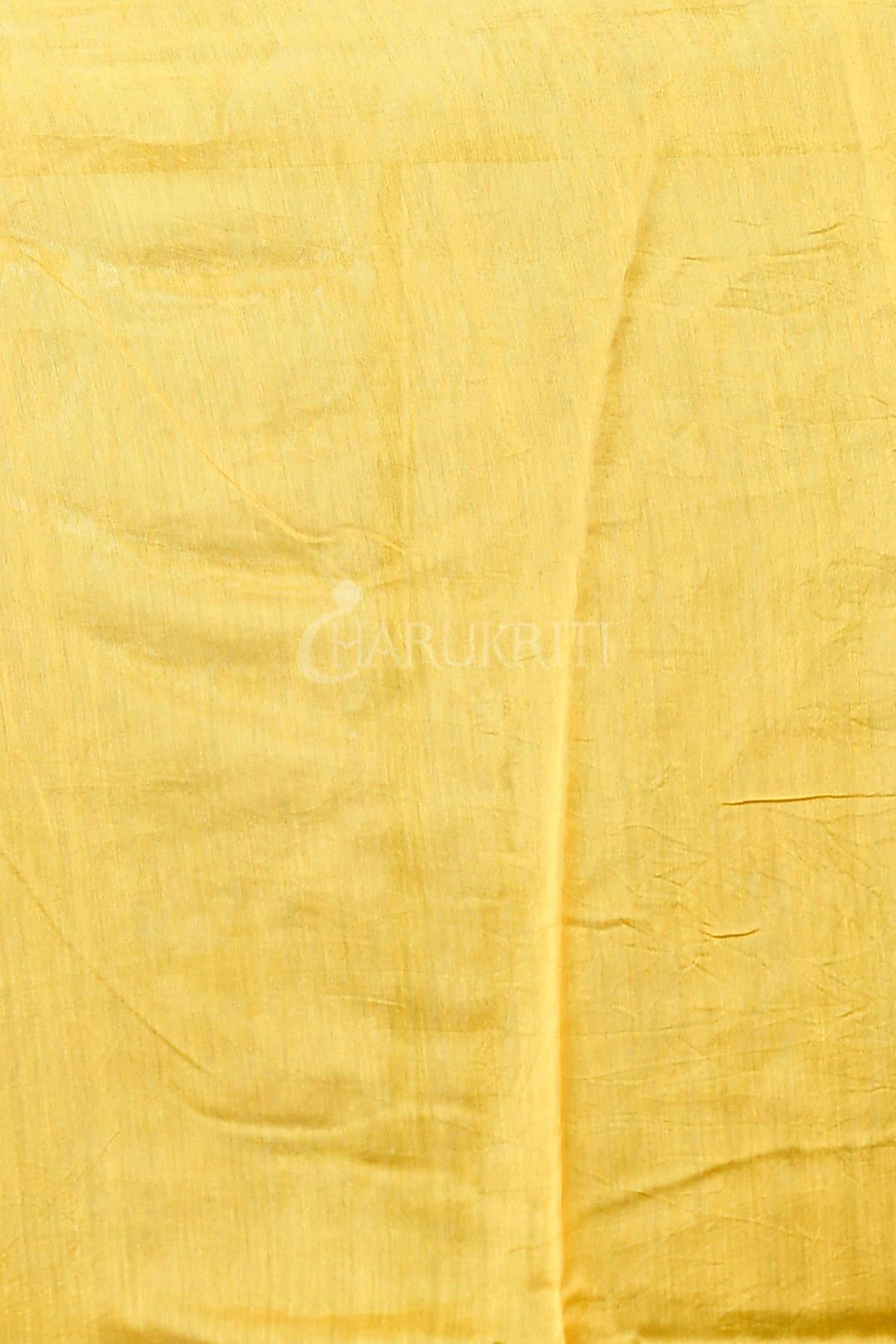 YELLOW CHANDERI SILK SAREE WITH BLACK PRINT AND ZARI BORDER