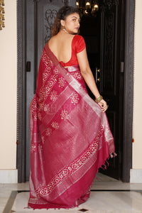 MAGENTA LINEN SAREE WITH BATIK PRINT