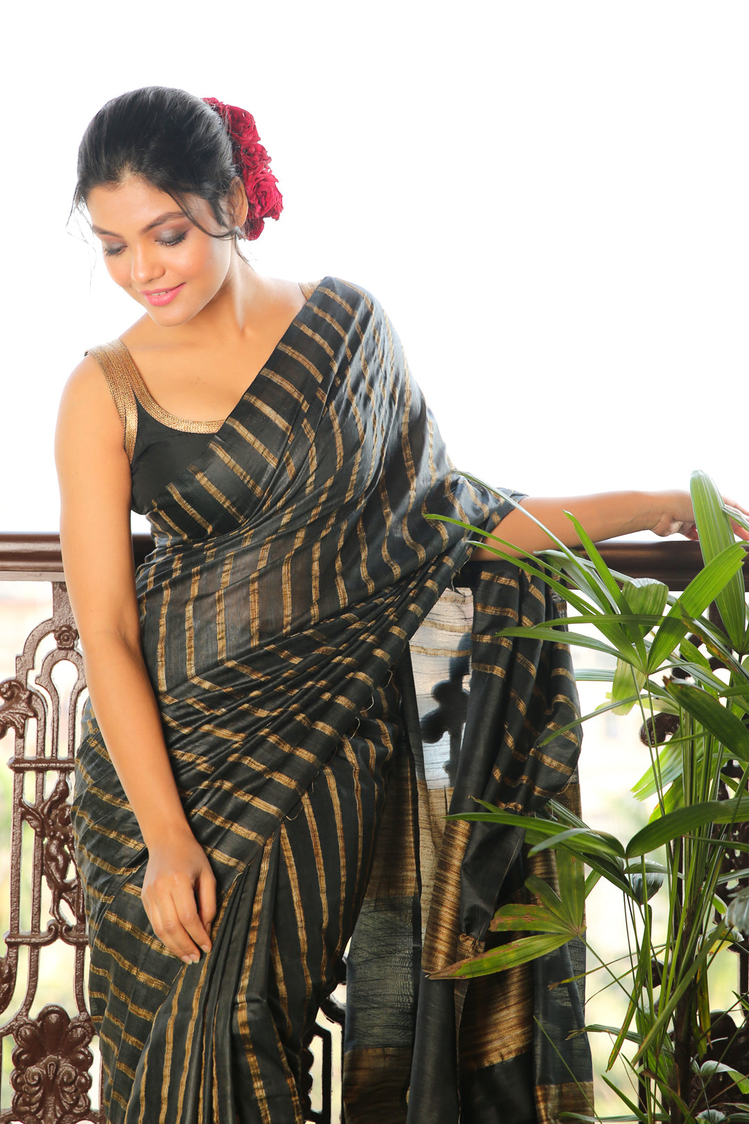 BLACK BLENDED SILK SAREE WITH GHEECHA STRIPES AND PALLU