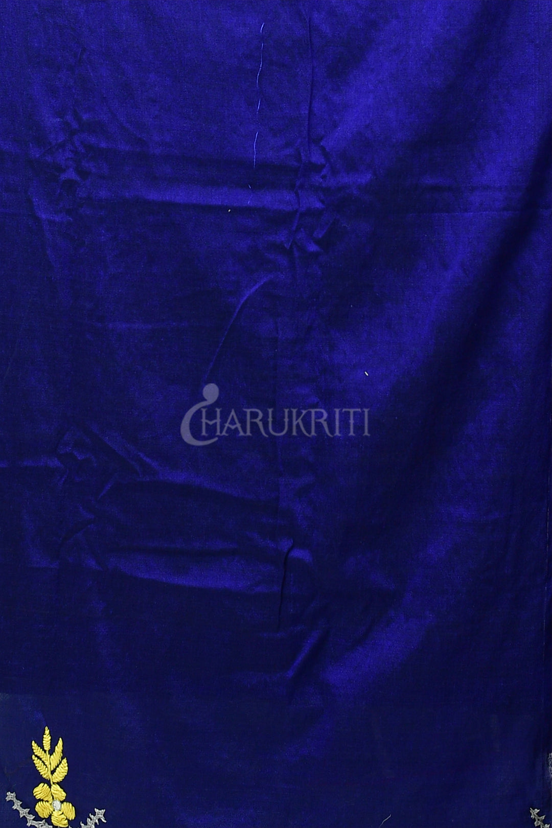 STEEL AND NAVY BLUE PURE COTTON SAREE WITH GUJARATI WORK