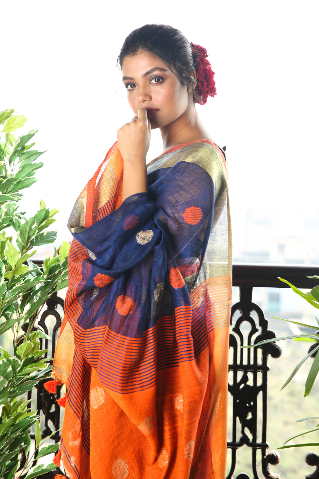 Navy Blue Zari Bordered Pure Linen With Polka Dot Weaving And Orange Pallu