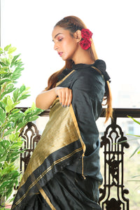 BLACK BLENDED COTTON SAREE WITH GOLDEN PLAIN BORDER AND PALLU