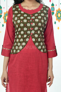 Red Pure Cotton Kurti with Army Green Printed Foil Mirror Stitched Jacket