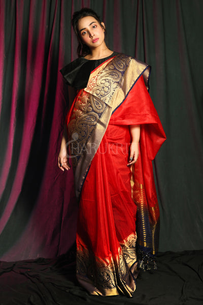SCARLET RED BLENDED SILK SAREE WITH KALKA ZARI BORDER AND NAVY BLUE PALLU