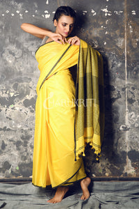 LEMON YELLOW COTTON BLENDED LINEN SAREE WITH STRIPES PALLU