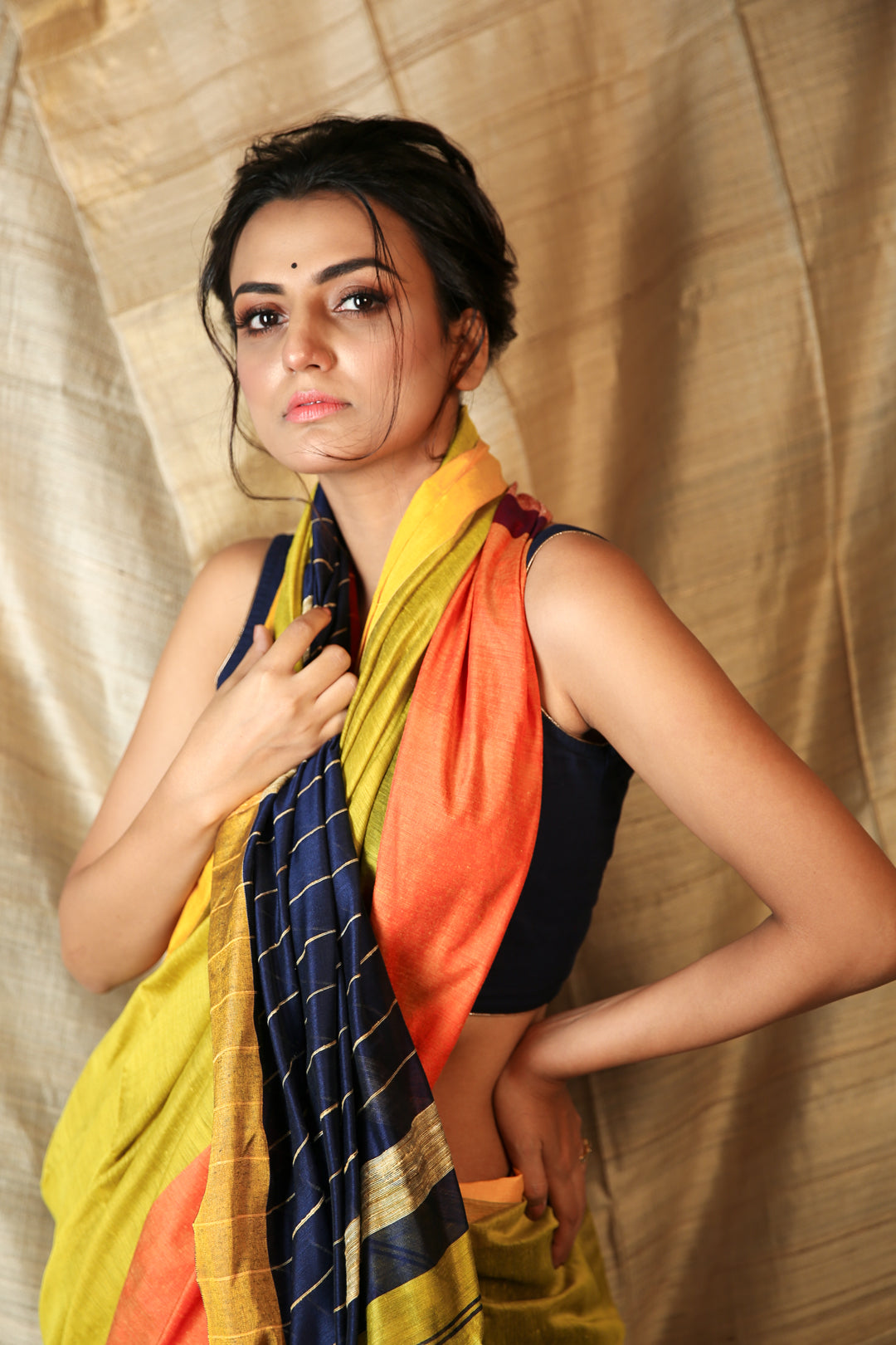 Mustard & Navy Blue Mahapaar Handloom with Gheecha Stripes Pallu