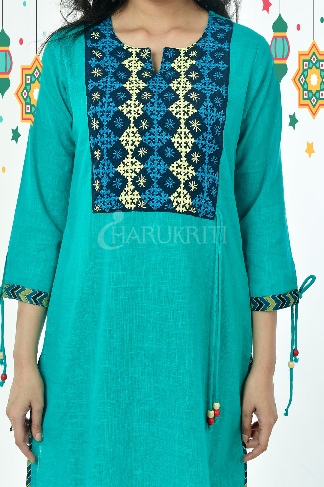 Dusty Cyan Blue Resham Gujrati Work Cotton kurti