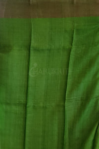 KOBALT BLUE AND SAP GREEN ZARI BORDERED TUSSAR WITH PRINTED ZARI PALLU
