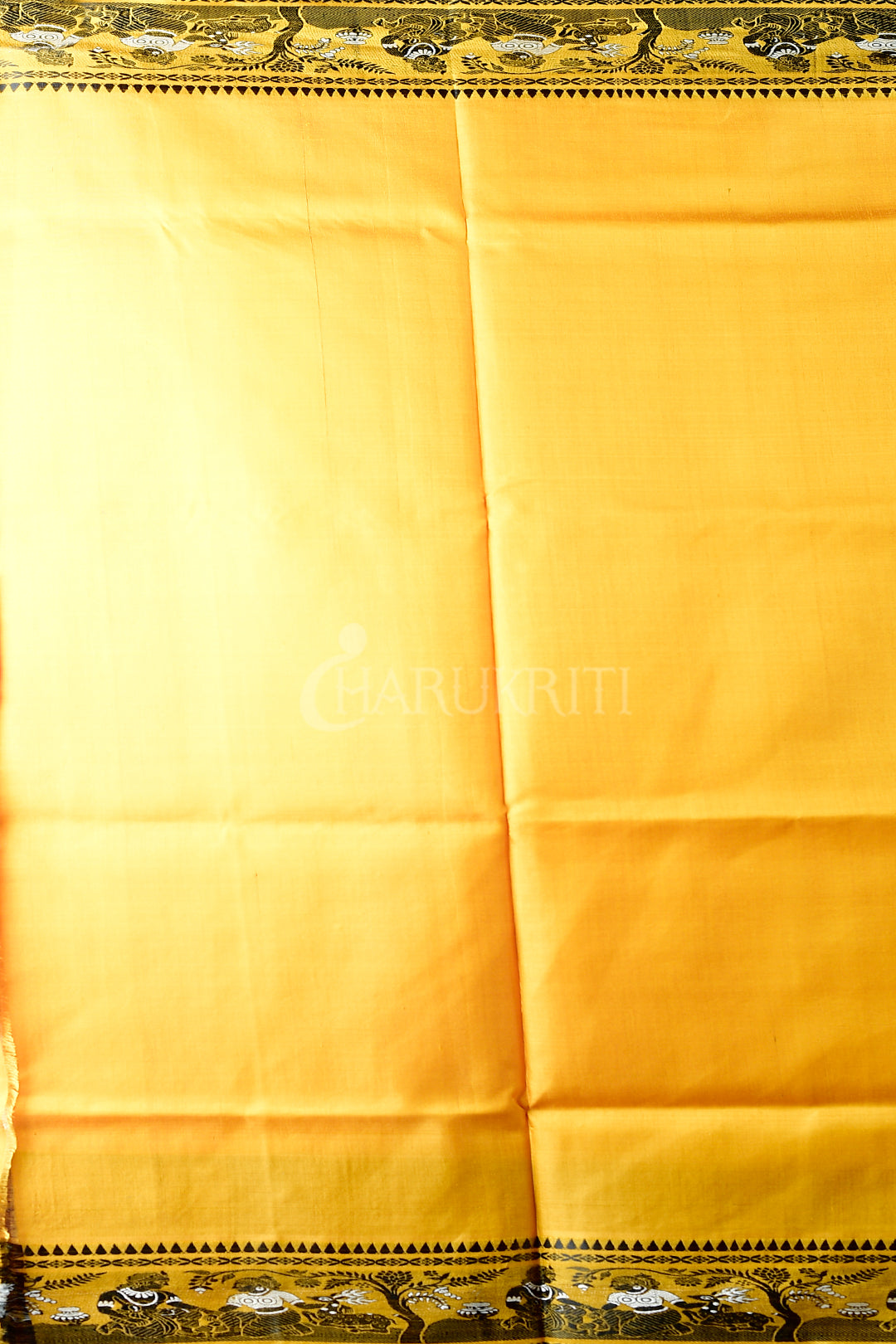 GOLDEN YELLOW BALUCHARI ON KATAN SILK WITH BLACK FIGURE MOTIF