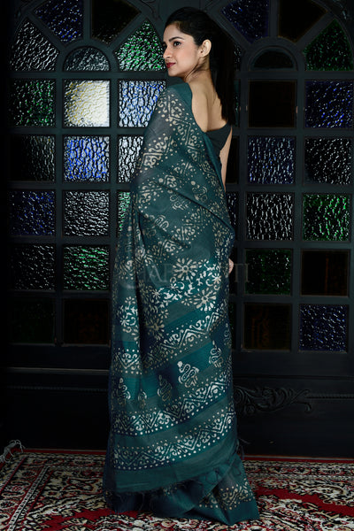 DARK TEAL BLUE  BLENDED GHEECHA WITH BATIK PRINT