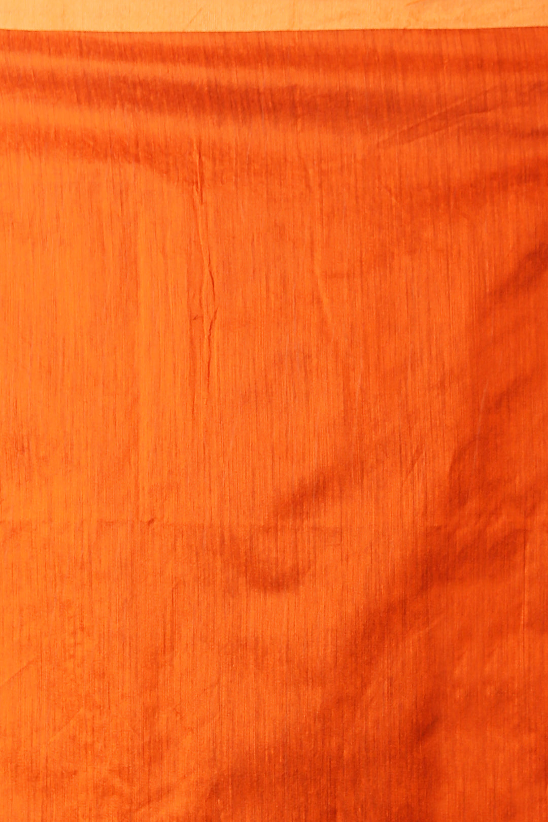 ORANGE BLENDED COTTON SAREE WITH GOLDEN PLAIN BORDER AND PALLU
