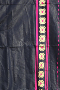 MIDNIGHT BLUE BANARAS JAMDANI SAREE WITH ALL OVER YELLOW & ZARI WOVEN DESIGN