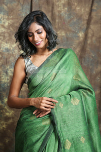 Green Linen Saree With Allover Leaf Motif Weaving