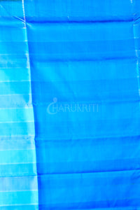 MULTICOLOUR CHECK KATAN SILK WITH BLUE PALLU AND ZARI BORDER