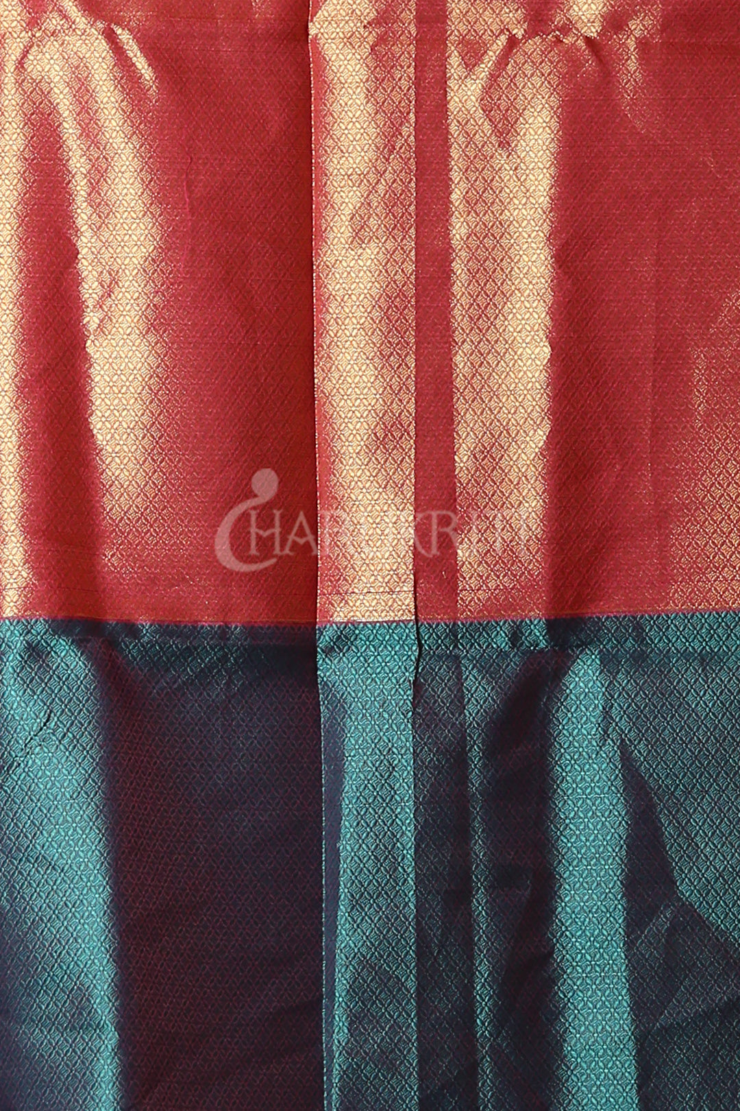 SAPPHIRE BLUE AND PINK HALF BROCADE HALF KORA TANCHOI SAREE