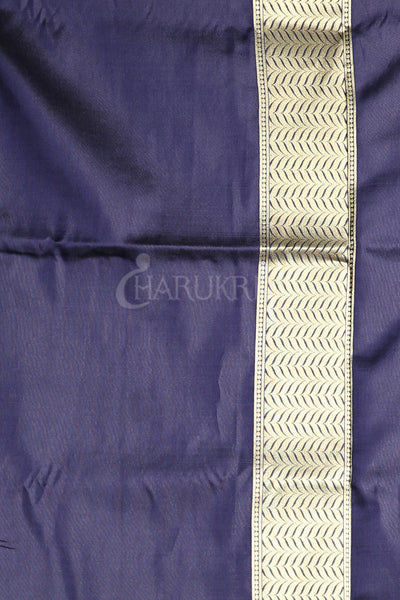 NAVY BLUE BLENDED SILK SAREE WITH ALL OVER ZARI WEAVING