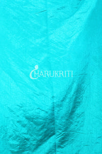 CYAN BLUE FLORAL WEAVING BANARAS SILK WITH ZARI BORDER