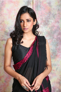 """Black Begampuri pure cotton saree with Dark Pink skirt border """