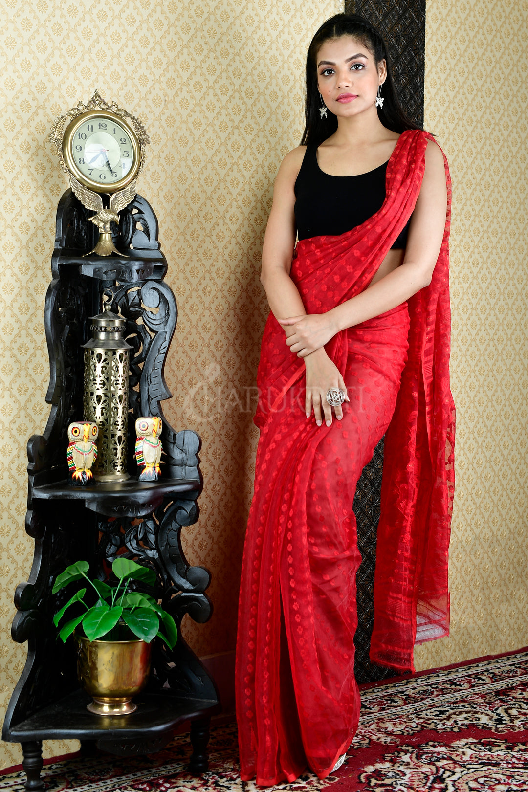RED JAMDANI SAREE WITH ALL OVER BUTTA