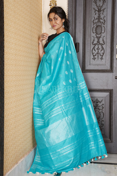 SKY BLUE COTTON BLENDED LINEN SAREE WITH SILVER BORDER AND COIN BUTA