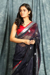Dark Navy Linen Saree with Silver Zari Weaving Rich Pallu