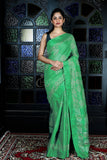 LIGHT GREEN BLENDED GHEECHA WITH BATIK PRINT