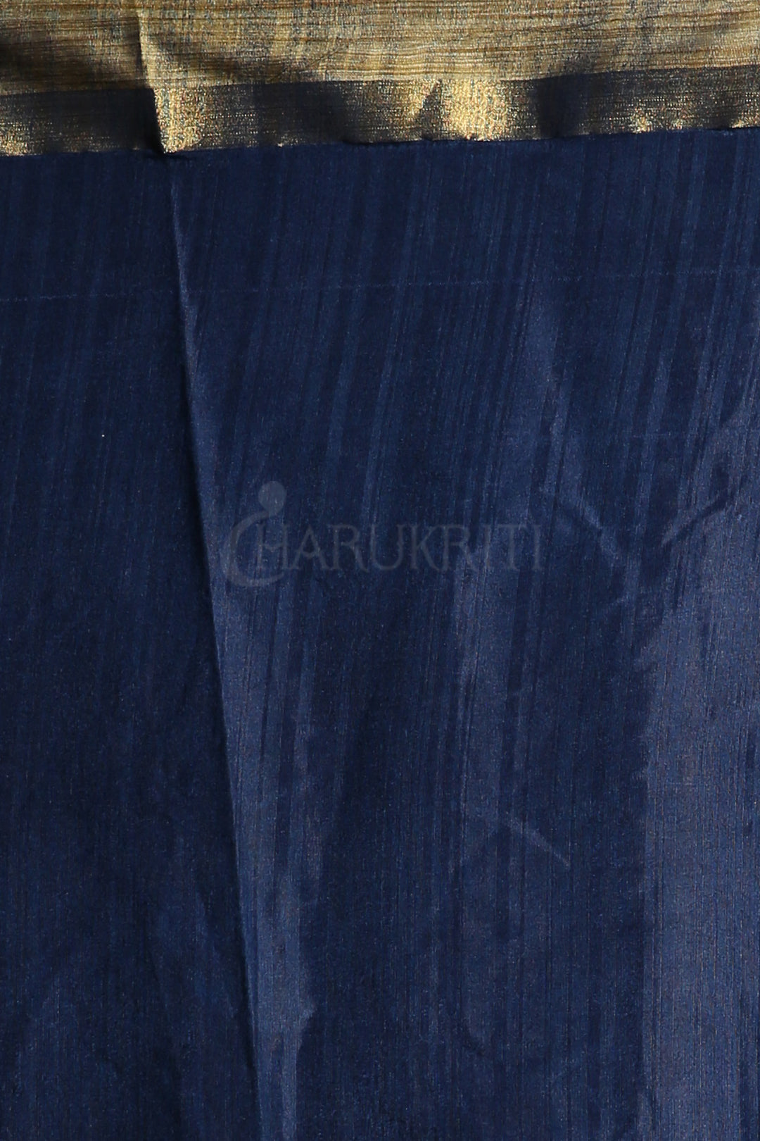 NAVY BLUE DUPION SILK SAREE WITH ALLOVER SMALL BUTTA EMBROIDERY AND ZARI PALLU