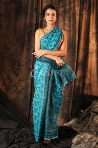 SKY BLUE AND BLACK JAMDANI SAREE WITH ALL OVER THREAD WEAVING