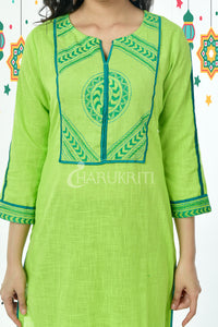 Light Green Embroidered patched Pure Cotton Kurti