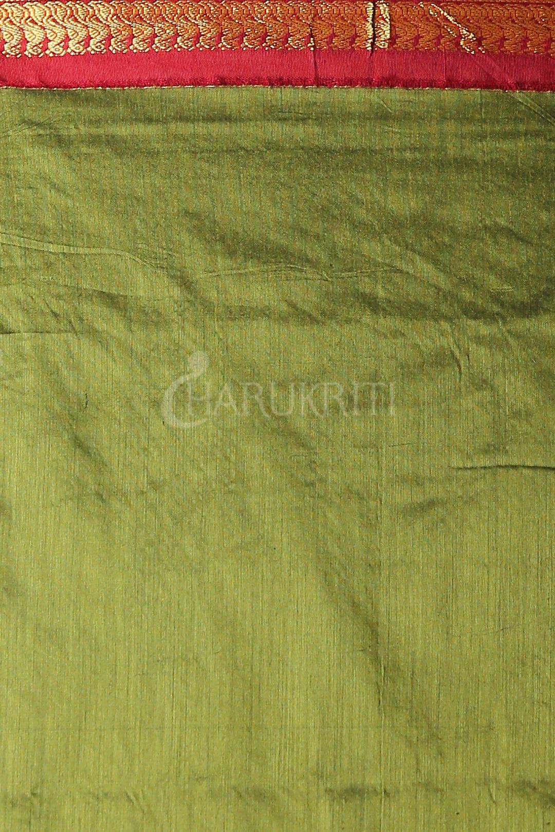 MOSS GREEN GARDWAL SAREE WITH MAROON ZARI BORDER AND PALLU