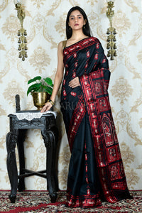 Black and Red Balucahri Saree with weaving pallu