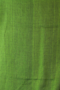 Navy Blue Zari Bordered Pure Linen With Polka Dot Weaving And Green Pallu