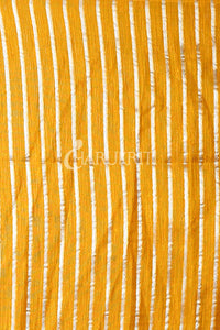 YELLOW MASLIN WITH FOLRAL WEAVING BODY AND PALLU