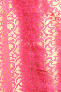 YELLOW DUPION SILK SAREE WITH ALLOVER BUTTA AND DUAL BORDER & ZARI PALLU