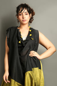 Corn Yellow Khadi Cotton Saree With Black Pallu
