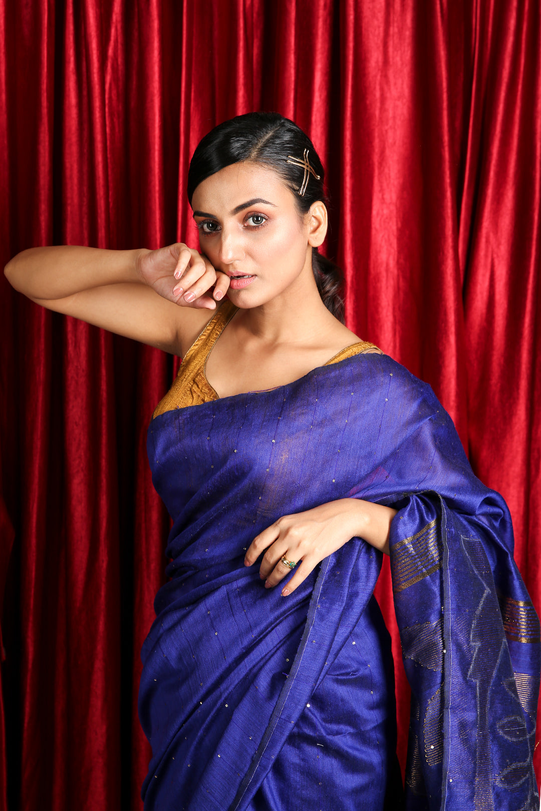 Royal Blue Sequence Handloom Saree with Rich Pallu