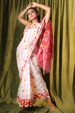 WHITE SMALL BUTTA JAMDANI WITH RED FLORAL BORDER AND PALLU