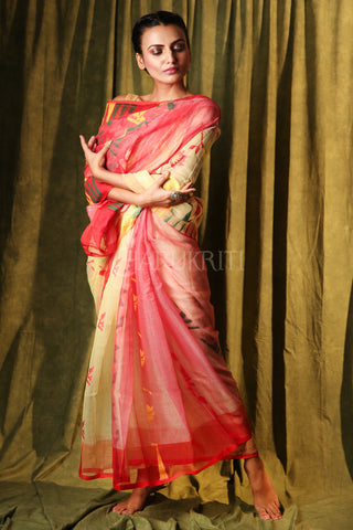 BEIGE AND RED JAMDANI SAREE WITH MULTICOLOR THREAD WEAVE