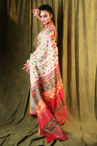 White Jamdani Saree With All Over Multicolour Weaving