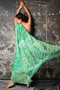 SEA GREEN SMALL BUTTA JAMDANI WITH FLORAL BORDER AND PALLU