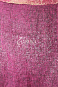 PLUM PURE LINEN WITH GOLDEN BORDER AND PALLU