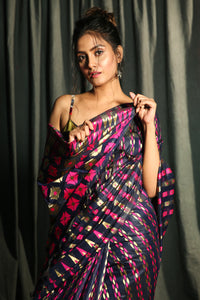 MIDNIGHT BLUE BANARAS JAMDANI SAREE WITH ALL OVER MAGENTA & ZARI WOVEN DESIGN