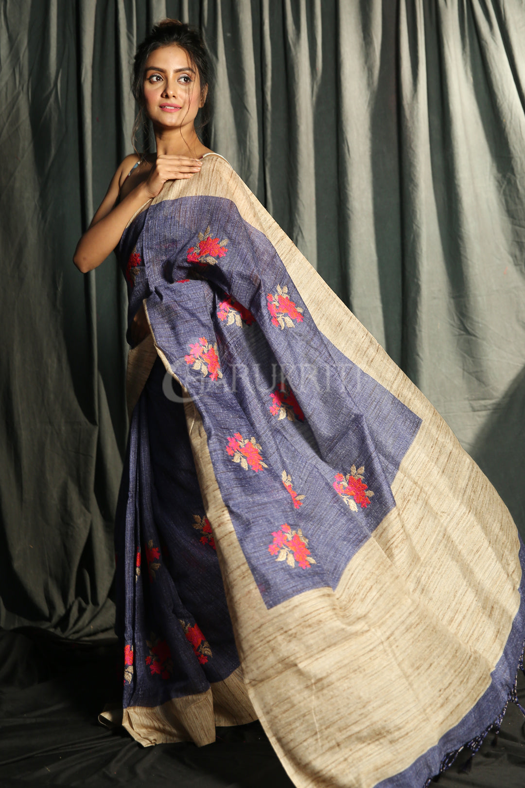 DENIM BLENDED GHEECHA WITH FLORAL EMBROIDERY
