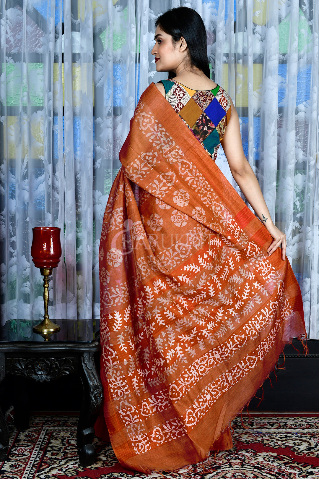 GINGER ORANGE BLENDED GHEECHA WITH BATIK PRINT