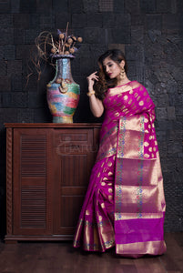MAGENTA BENARAS HANDLOOM WITH MULTICOLOUR ZARI BORDER