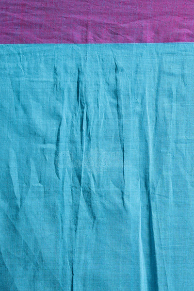 BLUE PURE COTTON SAREE WITH POMPOM