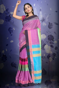 TAFFY PINK COTTON SAREE WITH MULTICOLORED MIDDLE BORDER