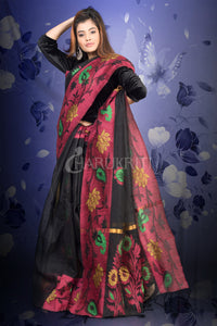 BLACK SILK LINEN WITH JAMDANI BORDER AND PALLU